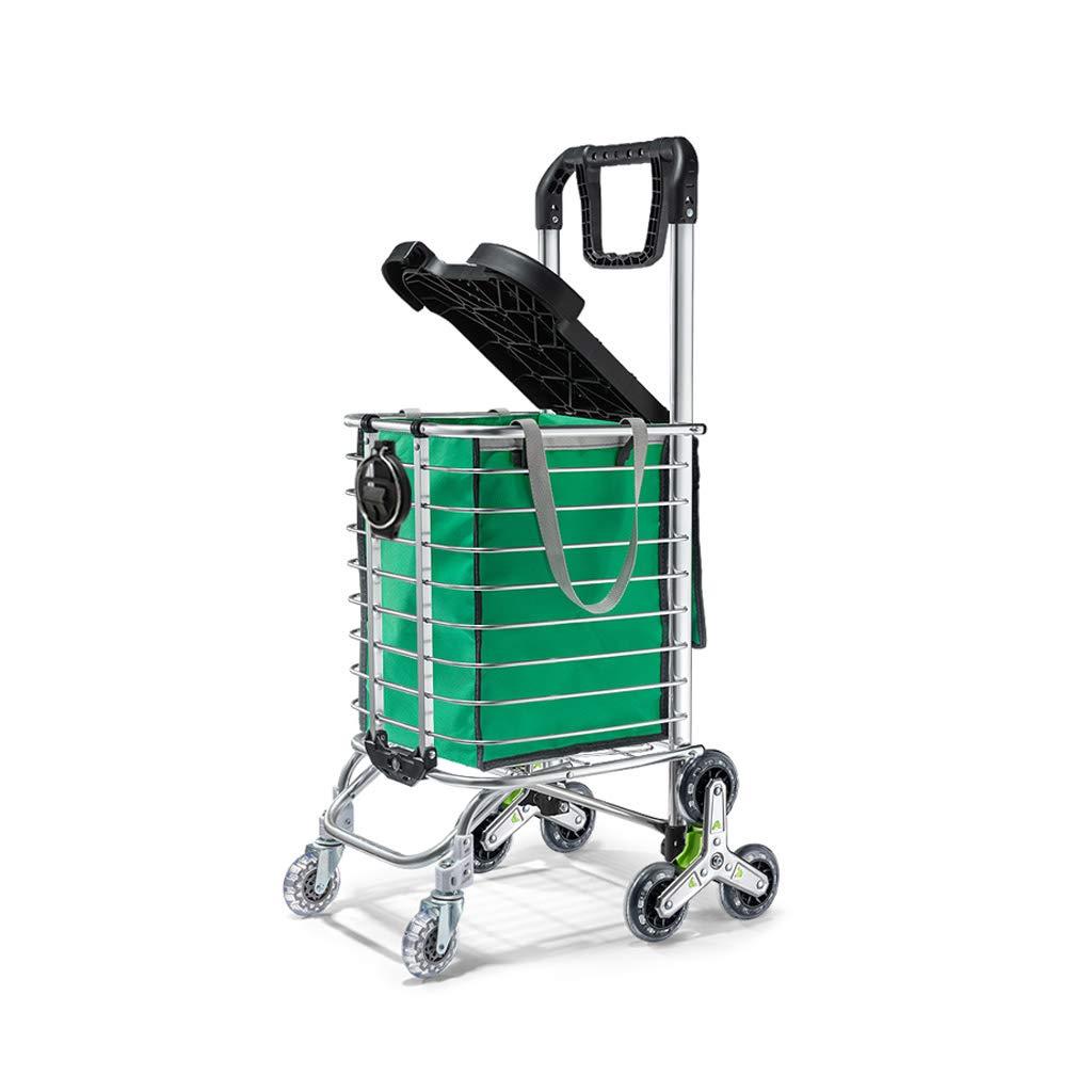 折り畳み式ショッピングカート、持ち運び可能な階段式食器棚を持ち上げる再利用可能な公共輸送用カート、回転式ホイール、折り畳み式フレーム (色 : Green) B07K2MZ9CW Green