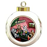 Home of Bengal Cats 4 Dogs Playing Poker Round Ball Christmas Ornament