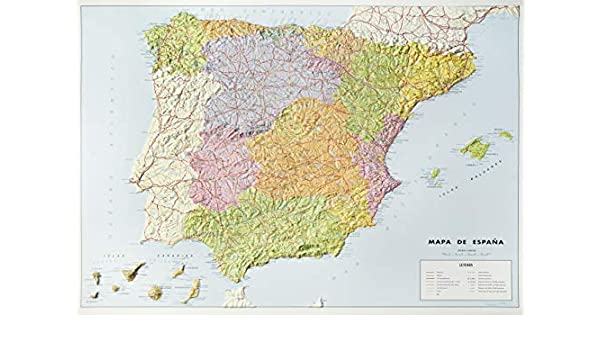 Mapa en relieve España político: Escala 1:2.000.000: Amazon.es ...