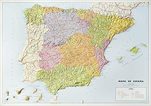 Mapa en relieve España político: Escala 1:2.000.000: Amazon.es: All 3D Form S. L.: Libros
