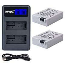 TOPMAX LP-E8 Dual Charger with LED Screen and 2 Pack High Power LP-E8 Batteries for Canon Rebel T3i, T2i, T4i, T5i, Eos 600D, 550D, 650D, 700D, Kiss X5, X4, Kiss X6, LC-E8E Digital Camera