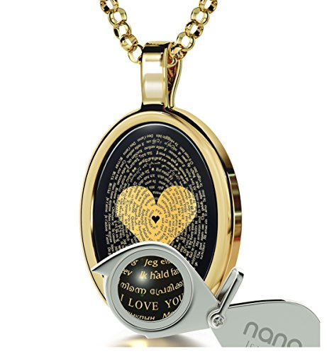 Gold Plated Love Necklace Pendant 24k Gold Inscribed I Love You in 120 Languages Onyx, 18'' Gold Filled by Nano Jewelry