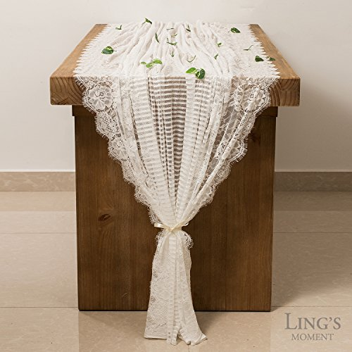 Lingu0027s Moment 62×120 Inch White Wedding Lace Tablecloth Lace Table Runner  Overlay, Summer U0026 Fall Rustic Chic Wedding Reception Table Runner, Boho  Wedding ...