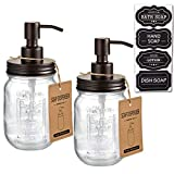 Mason Jar Soap Dispensers -Bronze -Rustproof 304 Stainless Steel Mason Jar Lid &Pump - Great for Hand Soap, Lotions,Dish Soap, Liquid Soap,Bath Soap-Farmhouse Décor for Bathroom & Kitchen sink(2 Pack)