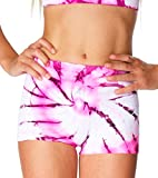 Malibu Sugar Girls (7-14) Tie Dye Boyshorts One Size Pink/Black/White