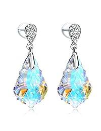 J.Rosée Women Crystals Earrings,Teardrop Earrings Crystals from Swarovski Silver Blue Heart Stud Earrings