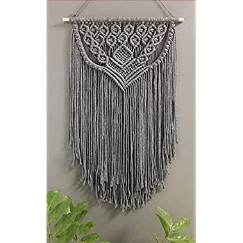 Winterdemoon Boho Grey Macrame Wall Hanging