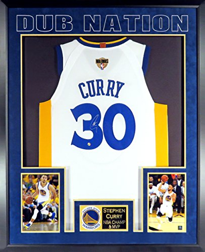 Stephen Curry Autographed Home White Jersey w/NBA Finals Patch (SGA Deluxe Patch Impact Series) Framed