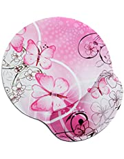 RICHEN Memory Foam Mouse Pad with Wrist Support,Ergonomic Mouse Pad with Wrist Rest,Non-Slip Rubber Base for Computer Laptop & Mac,Lightweight Rest for Home,Office & Travel (Pink Butterfly)