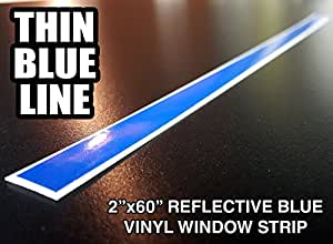 2x60 thin blue line reflective window decal for A1a facial salon equipment