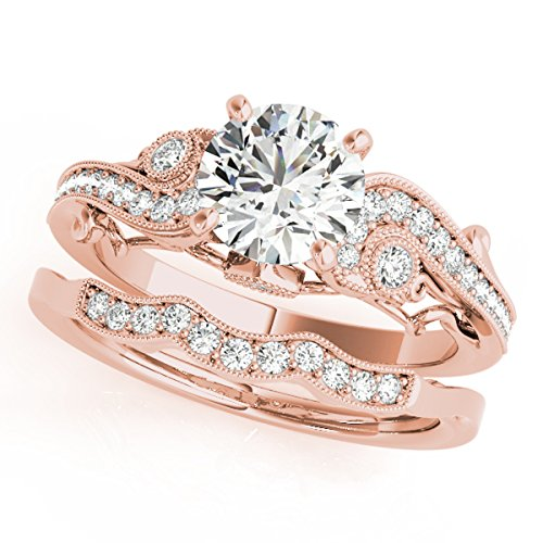 0.60 Ct. Diamond Engagement Bridal Ring Set 14K Solid Rose Gold by MauliJewels