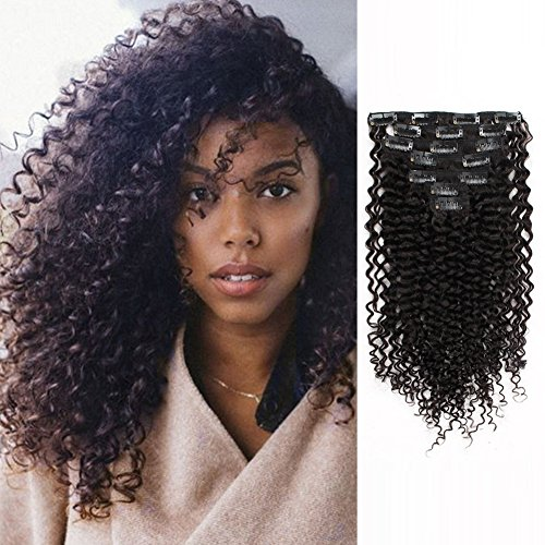 Beauty : AmazingBeauty Double Weft Clip In Human Hair Extensions Thick 3B 3C Afro Jerry Curl 8A Grade 100% Remy Hair Natural Black 10-22inch 7 Pieces with 18 Clips 120g/4.2oz per Set Fit For Full Head 14 inch