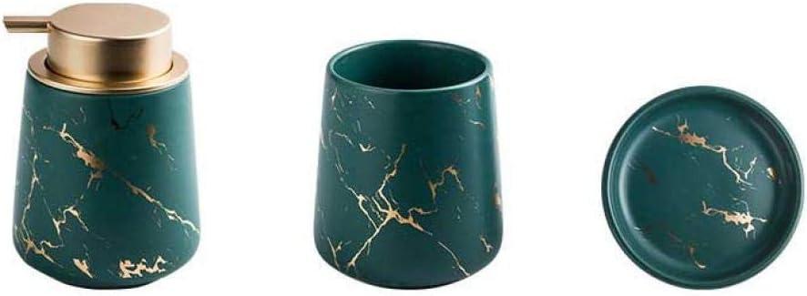 drei Teile Dunkelgr/ün keramik AllMei Badezimmerzubeh/ör-Set 3- oder 4-teilig Keramik Haushaltswaren Marmor Optik modernes Design Badezimmerzubeh/ör Einheitsgr/ö/ße