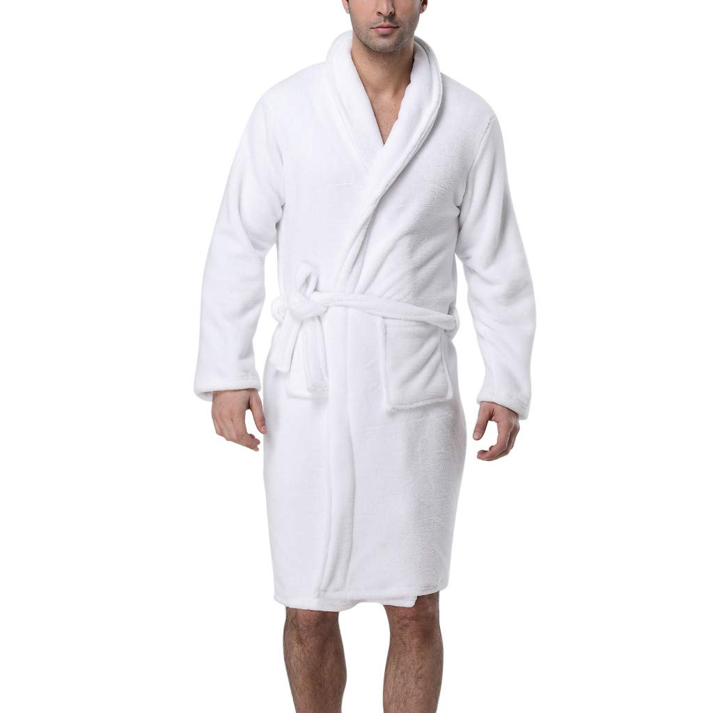 Night Gowns for Women Soft Cotton Bathrobe Lengthened Long Sleeved White