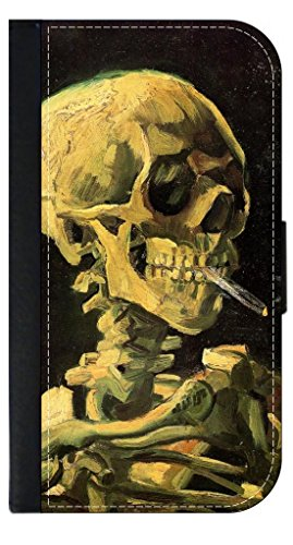 Vincent Van Gogh Skull of A Skeleton With A Burning Cigarette- Apple iPhone 7 Plus PU Leather and Suede Wallet Style Phone Case Made in the USA