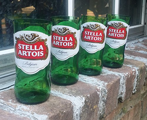 Set of 4 Stella Artois upcycled glasses