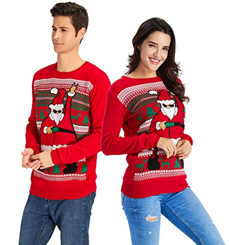 Men's Ugly Christmas Sweater Funny Dancing Santa Print Oversized Funny Xmas Sweater Oversized Knitted Red Pullover