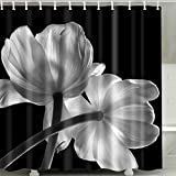 Black and White Shower Curtain Black and White Flower Shower Curtain Set, Nature Floral Decor 3d Art Printing Spring Summer Theme Scene Polyester Waterproof Fabric Bath Curtain with Hooks, Bathroom Accessories, 72x 72 Inch,BROSHAN