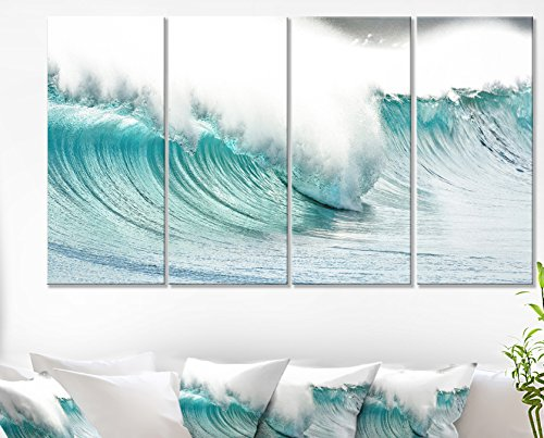 Massive Blue Waves Breaking Beach Seashore on Canvas Art