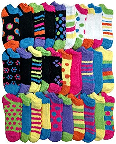 Yacht & Smith 30 Pairs Women Fuzzy Socks Crew Socks, Warm Butter Soft (Fuzzy Ankle Socks)