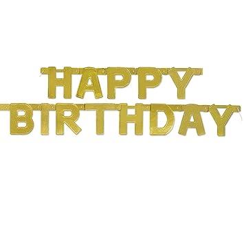 Unique Party Guirnalda de Letras de cumpleaños Happy Birthday, Color Oro Metalizado, 120 cm (49587)