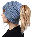 BT-6800-3373 Messy Bun Womens Winter Knit Hat Beanie Tail - Denim (Confetti)
