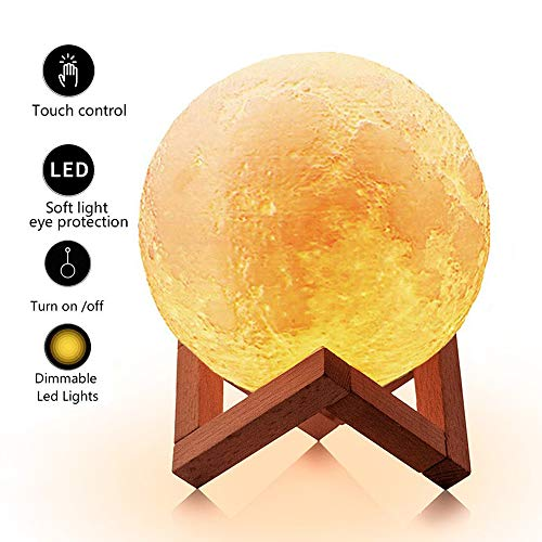 LOFTEK 7.1-inch 3D Moon Lamp, Cool Mood Lamp with Stand, Touch Control Night Light for Kids, 5V USB Fast Charging, Perfect Choice for Kids Lover Birthday Gifts (Warm and Cold Light) (The Moon And The Son An Imagined Conversation)