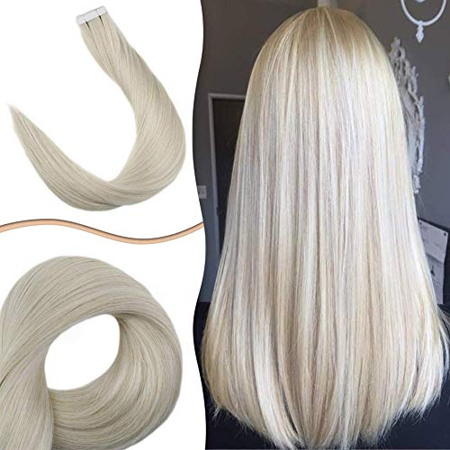 Easyouth Skin Weft Tape in Human Hair Extensions 20inch Color 1000 Platinum White Blonde 20pcs 50gram Invisible Glue in Hair Extensions Natural Human Hair (Mario Don T Forget To Wash Your)