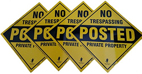 Best Price! Aluminum Yellow No Trespassing Posted Diamond Shaped Signs 4 pack