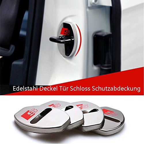 E270 2 x S Line Stainless Steel Lid Door Lock Protective Cover Edges Protector Car Mobile