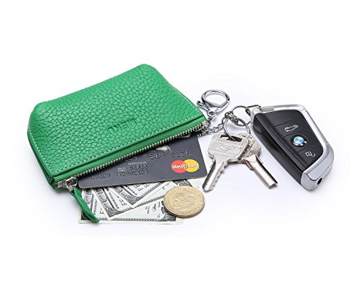 MEKU Women's Key Pouch Leather Coin Purse Keychain Holder Wallet with Zipper Green