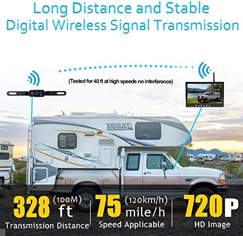 Amtifo Digital Wireless Backup Camera AM-W70 with Stable Signal, HD 720P 7 Monitor and Rear View Camera Kit for Cars,Pickups,Trucks,Campers