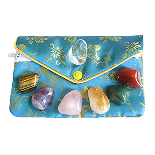 (Lucky Chakra Talisman Gemstones in Teal Pouch)