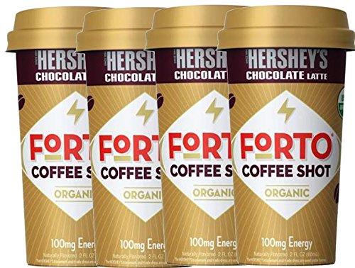 NEW Forto Coffee Shots Organic Hershey's Chocolate Latte,/Vanilla Latte 100mg Energy (Hershey's, 4) by FortoCoffee