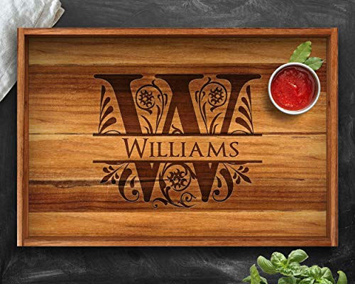 Personalized Tray, Teak, Personalized Christmas Gifts, Engraved Tray, Custom Tray, Wedding Gift, Housewarming Gift, Anniversary Gift, Tray, Wood Tray, Split Letter, Engagement Tray -