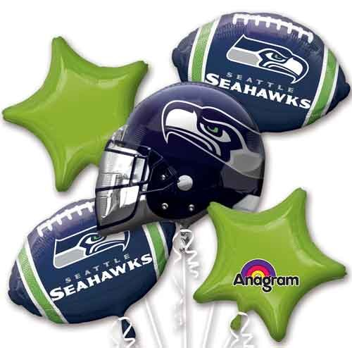 Five Balloon Bouquet Pack Seahawks Balloon Bouquet (Seahawks Decorations)