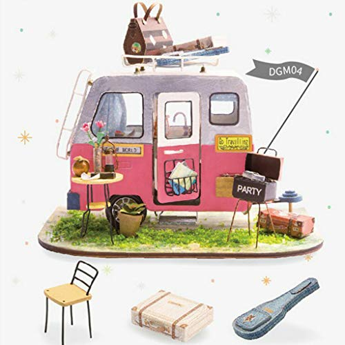 NATFUR 1:24 Dollhouse Miniature DIY Prince Doll House Kits Travel Truck Kids Toys -