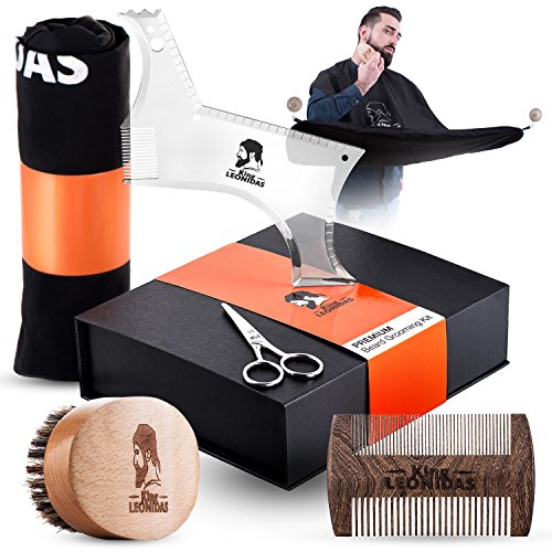 King LEONIDAS Beard Care Grooming Kit | Complete SET - Beard Brush, Sandalwood Comb, Trimming Scissors, Beard Bib & Shaping Tool | Great for Natural Growth, Shaping & Styling | Perfect GIFT for men