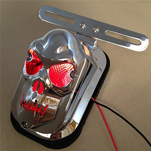 Motorcycle Motorcycle Chrome Red Skull Brake Tail Light Signal For Harley Davidson Bike SMT-MOTO