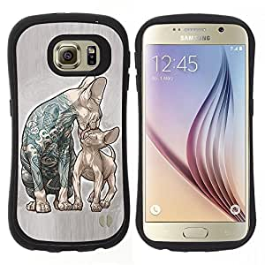 "Pulsar iFace Series Tpu silicona Carcasa Funda Case para Samsung Galaxy S6 , Gatos Madre gatito Amor tatuaje de la tinta azul"""