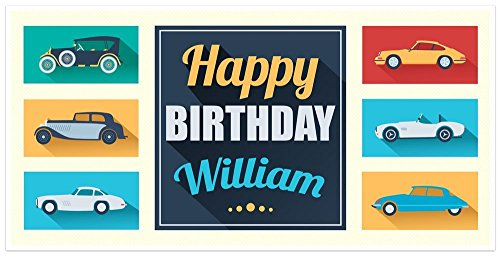 (Classic Car Birthday Banner Personalized Decoration Backdrop)
