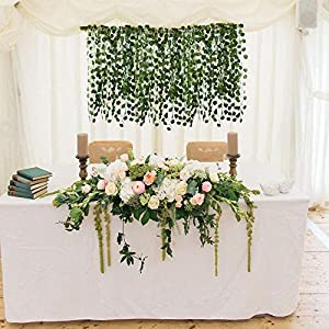 HO2NLE 12 Pack 84 Feet Artificial Fake Hanging Vines Plant Faux Silk Green Leaf Garlands Home Office Garden Outdoor Wall Greenery Cover Jungle Party Decoration 3