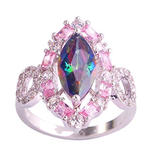 Veunora 925 Sterling Silver Created Marquise Cut Rainbow Topaz Filled Gorgeous Cluster Promise Ring for Women Size 10