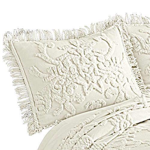 Cottage Charm Floral Lattice Chenille Pillow Sham with Fringe Edging, Cream, (Floral Sham)