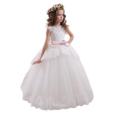 Amazoncom Angel Dress Shop Flower Girl Dress Lace Tulle Applique
