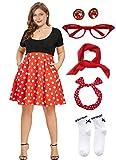 50'S Plus Size Polka Dot Dress with Cat Eye Glasses