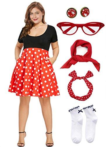 50'S Plus Size Polka Dot Dress with Cat Eye Glasses -