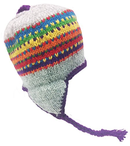Rainbow Import (Nepal Hand Knit Sherpa Hat with Ear Flaps, Trapper Ski Wool Fleeced Lined (Grey Rainbow))