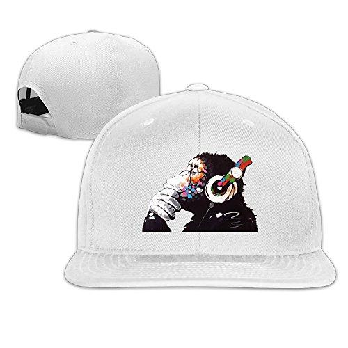 Men's Ape Chimp Gorilla DJ Monkey Art Print Cute Funny Childlike Flat Bill Vintage Style Snapback Hat Cap