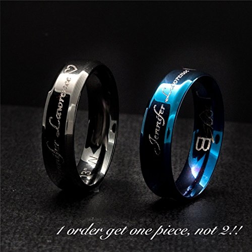 A Your Name Personalized Ring Stainless Steel Beveled Edge Flat Band Ring Silver -Plated Delicate Bridesmaid Couple Ring mother's day mom (Costumes Couples Ideas)